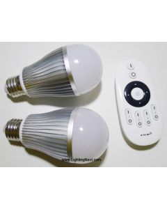 2 pcs 2.4G 9W Color Temperature Adjustable LED Bulb with RF Remote, Smartphone or Tablet WiFi Compatible