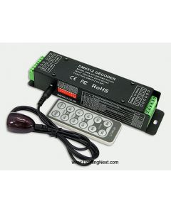 DMX512 to SPI Universal Signal Decoder  with Adjustable IC and Remote Control, 5-24VDC