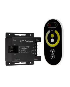 White Adjustable LED Controller with RF Touch Remote, 12-24 VDC, 6A/CH
