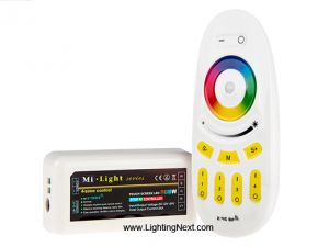 2.4G RGB+White RGB Multi Zone Controller with RF Remote, 6A/CH, Smartphone or Tablet WiFi Compatible