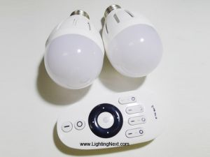 2 pcs 6W Variable Color Temperature LED Bulb with Remote, Smartphone or Tablet WiFi Compatible