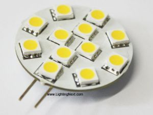 Disc Type 12 SMD 5050 G4 LED Lamp, 12 Volt  DC, 2.5W, Side-Pin