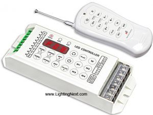 RGBW 4CH LED Controller with RF Remote, 5-24VDC,  5A/CH