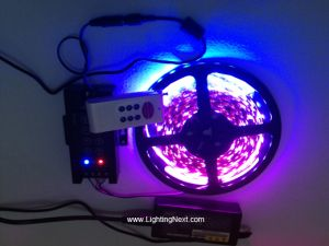 SMD5050 RGB LED Strip Kit with RF Remote Controller and Power Supply