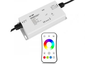 Waterproof 4 Channel Receiver with RGB/RGBW RF Remote - 5 Amps/Chan