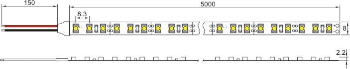 SMD3528 Flexible LED Light Strip, 120LEDs/m, 5m/roll, 12 VDC