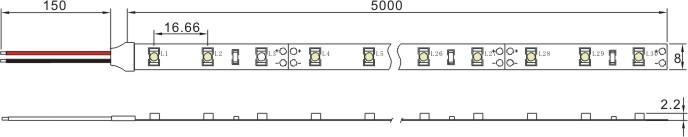 SMD3528 Flexible LED Light Strip, 5m/roll, 60LEDs/m, 12 VDC
